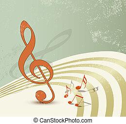 música, fundo, retro