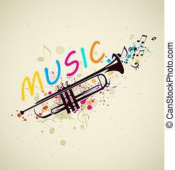 música, fundo, trompete