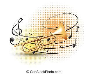 música, fundo, trompete, notas