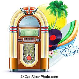 música, funky, fundo, verão
