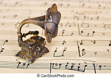 música, gramophone, antigas, folha