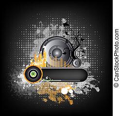 música, grunge, coloridos, fundo