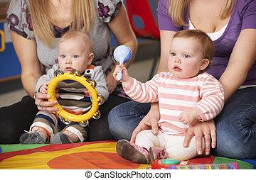 música, grupo, bebês, mães