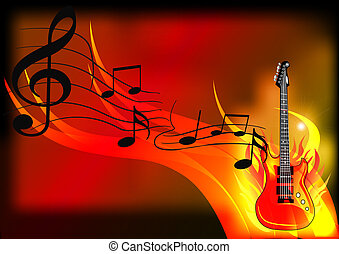 música, guitarra, fuego, plano de fondo