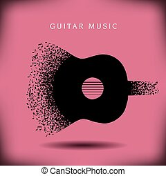 música, guitarra, fundo