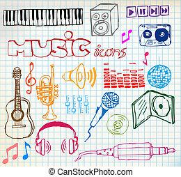 música, hand-drawn, ícones