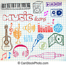 música, hand-drawn, iconos