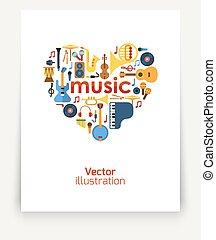 música, heart.