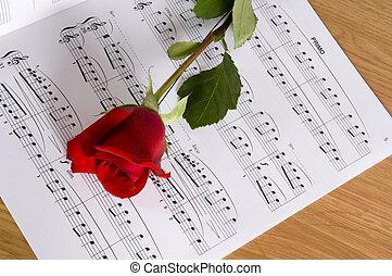 música hoja, con, rosa