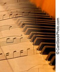música hoja, mezclado, encima, piano, en, suave, luz, confuso
