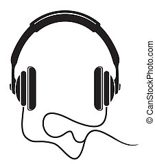 música, icono, auriculares