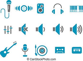 música, icono, conjunto