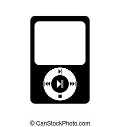 música, icono, jugador, mp3