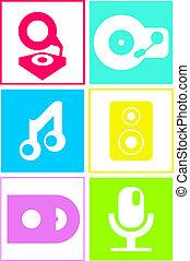 música, iconos, en, neón, colors:, plano, diseño