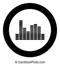 música, igualada, negro, icono, en, círculo