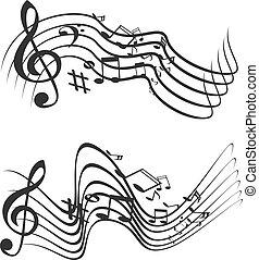 música, illustration., vetorial, theme.