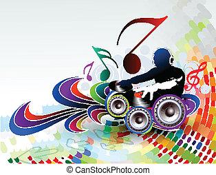 música, ilustração, fundo