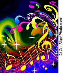 música, ilustração, ondas