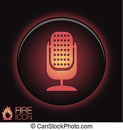 música, industria, carácter, microphone., canto