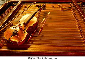 música instrumento, dois, cadeia