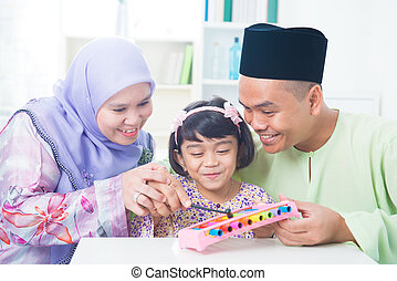 música instrumento, família asian, tocando