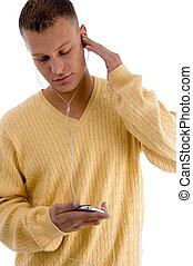 música, ipod, através, escutar, homem