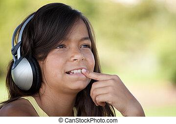 música, joven, escuchar, niño
