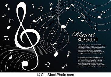 música, key., vetorial, fundo, notas
