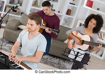 música, lar, faixa, multiracial, rehearsing