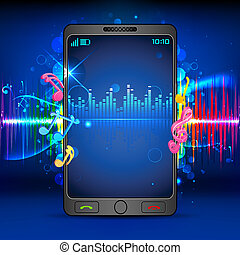 música, ligado, telefone móvel