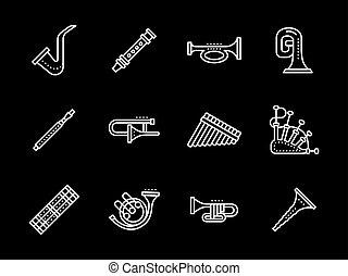 música, linha branca, vetorial, icons., instrumentos vento