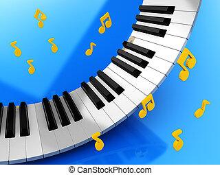 música, llaves, y, notas
