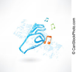 música, mão, grunge, ícone