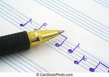 música, mão, nota, escrito