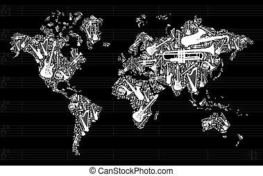 música, mapa, mundo