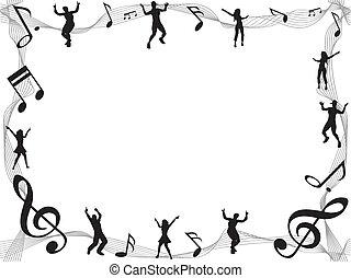música, marco, nota