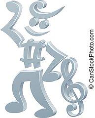 música, mascote