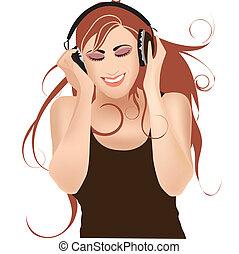 música, menina, fones, escutar