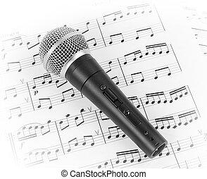 música, microfone, sheet., dinâmico