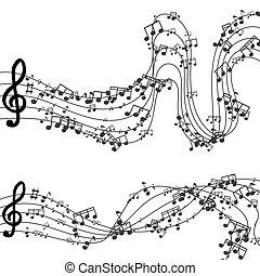 música, moderno, vector, fondo negro, diseño