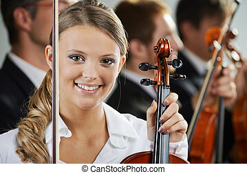 Música, mujer, clásico, retrato