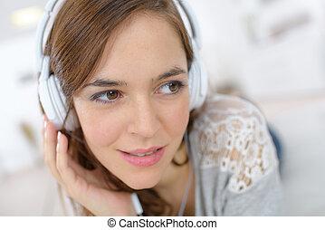 música, mulher, algum, relaxante