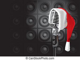música, natal, (vector), evento