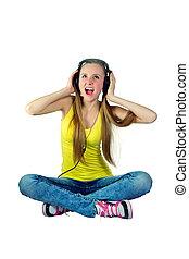 música, niña, auriculares, risas, escucha