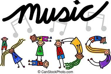 música, niños, título, texto