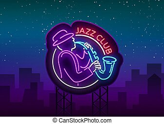 música, noche, publicidad, vector., club, music., brillante, proyectos, brillante, logotipo, neón, jazz, su, bandera, vivo, señal