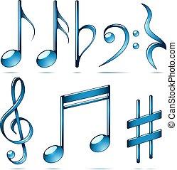 música, notação, vidro azul, symbols.