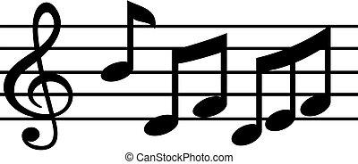música nota, acción, vector