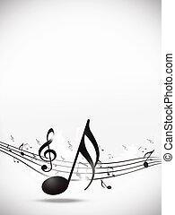 música nota, brillante, plano de fondo