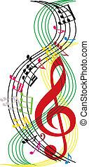 música nota, composición, musical, tema, plano de fondo, vector, illust
